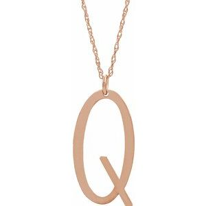 "14K Rose Gold-Plated Sterling Silver Block Initial Q 16-18"" Necklace with Brush Finish"