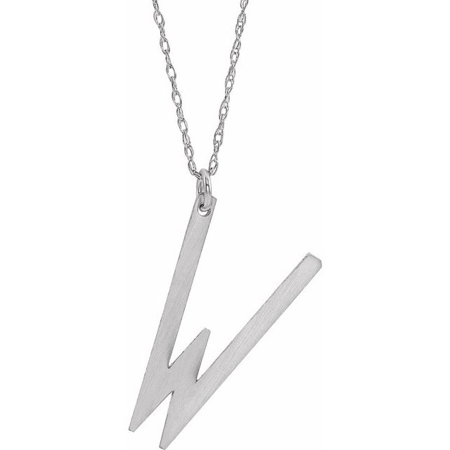 Sterling Silver Block Initial W 16-18