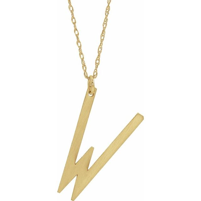 14K Yellow Gold-Plated Sterling Silver Block Initial W 16-18