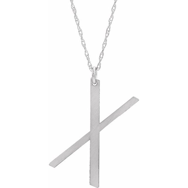 Sterling Silver Block Initial X 16-18