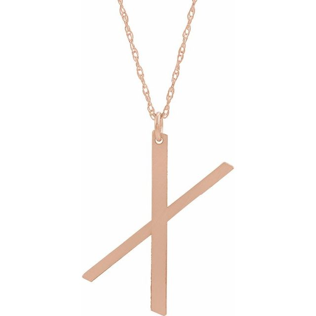14K Rose Gold-Plated Sterling Silver Block Initial X 16-18