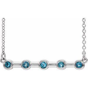 """14K White Aquamarine Bezel-Set Bar 18"""" Necklace"""