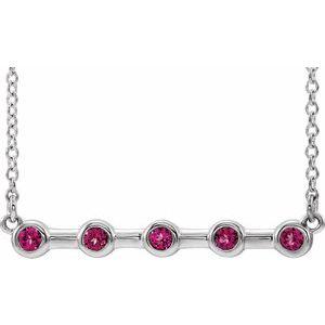 "14K White Pink Tourmaline Bezel-Set Bar 16"" Necklace"