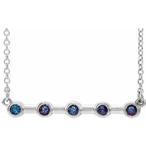 "14K White Chatham® Lab-Created Alexandrite Bar 16"" Necklace"