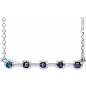 "14K White Alexandrite Bezel-Set 16"" Bar Necklace"