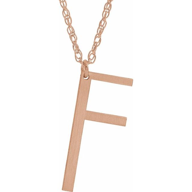 14K Rose Gold-Plated Sterling Silver Block Initial F 16-18