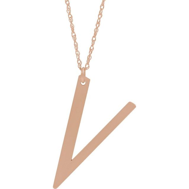 14K Rose Gold-Plated Sterling Silver Block Initial V 16-18
