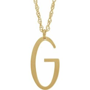 "14K Yellow Gold-Plated Sterling Silver Block Initial G 16-18"" Necklace with Brush Finish"