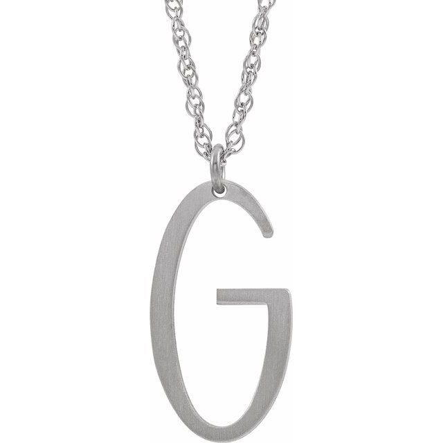 Sterling Silver Block Initial G 16-18