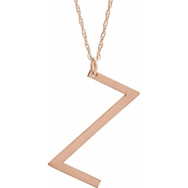 14K Rose Gold-Plated Sterling Silver Block Initial Z 16-18