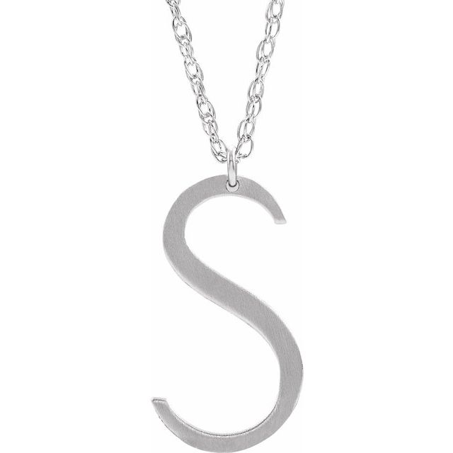 Sterling Silver Block Initial S 16-18