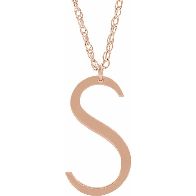 14K Rose Gold-Plated Sterling Silver Block Initial S 16-18