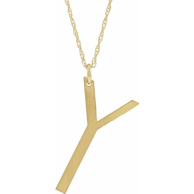 14K Yellow Gold-Plated Sterling Silver Block Initial Y 16-18