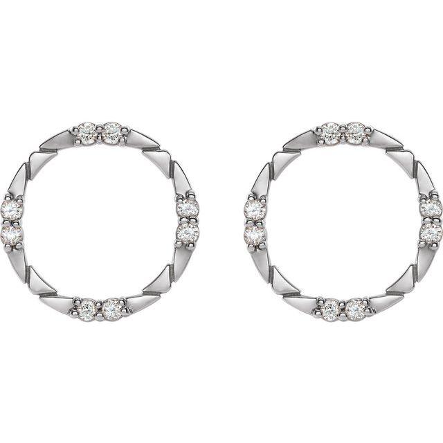 14K White 1/5 CTW Diamond Geometric Earrings