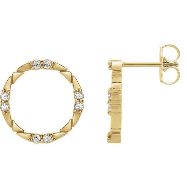 14K Yellow 1/5 CTW Diamond Geometric Earrings