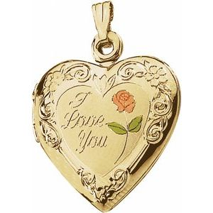 "14K Yellow 20x19 mm Enameled Roses ""I Love You"" Heart Locket"