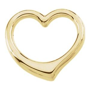 14K Yellow 15.75x16.25 mm Heart Slide Pendant