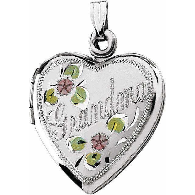 Sterling Silver 27.5x18.75 mm Grandma Heart Locket with Enameled Flowers