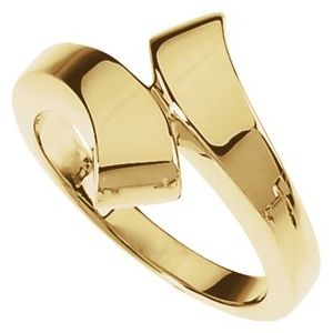 14K White Bypass Ring