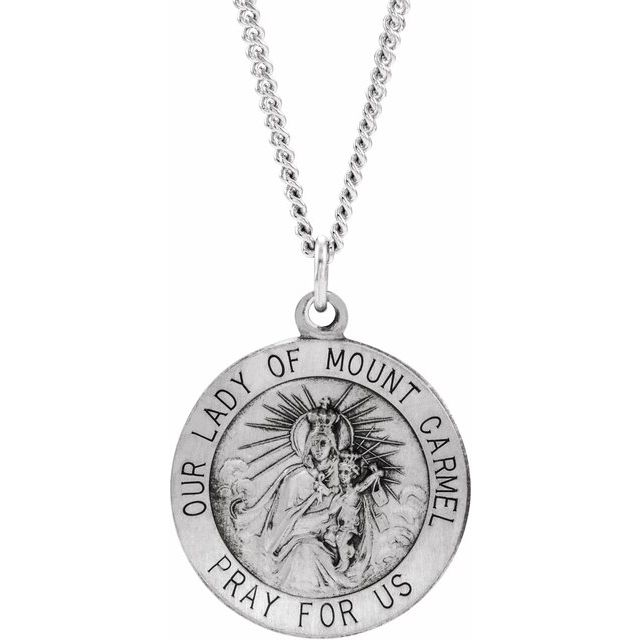 Sterling Silver 18 mm Our Lady of Mount Carmel Medal Pendant