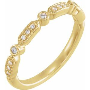 14K Yellow 1/8 CTW Diamond Anniversary Band