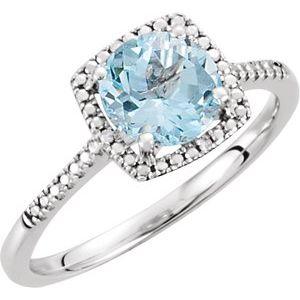 Sterling Silver Sky Blue Topaz & .01 CTW Diamond Ring Size 6