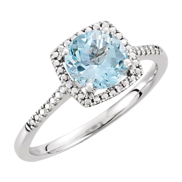 Sterling Silver Sky Blue Topaz & .01 CTW Diamond Ring Size 7