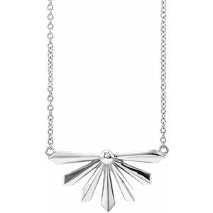 "14K White Starburst 16"" Necklace"