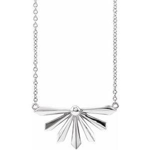 "14K White Starburst 18"" Necklace"