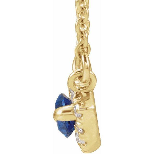 14K Yellow Blue Sapphire & .05 CTW Diamond Halo-Style 16