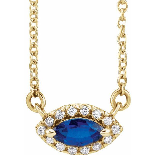 14K Yellow Lab-Grown Blue Sapphire & .05 CTW Diamond Halo-Style 16