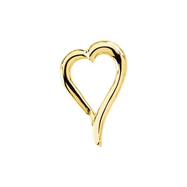 14K Yellow 21.25x14.5 mm Heart Slide Pendant