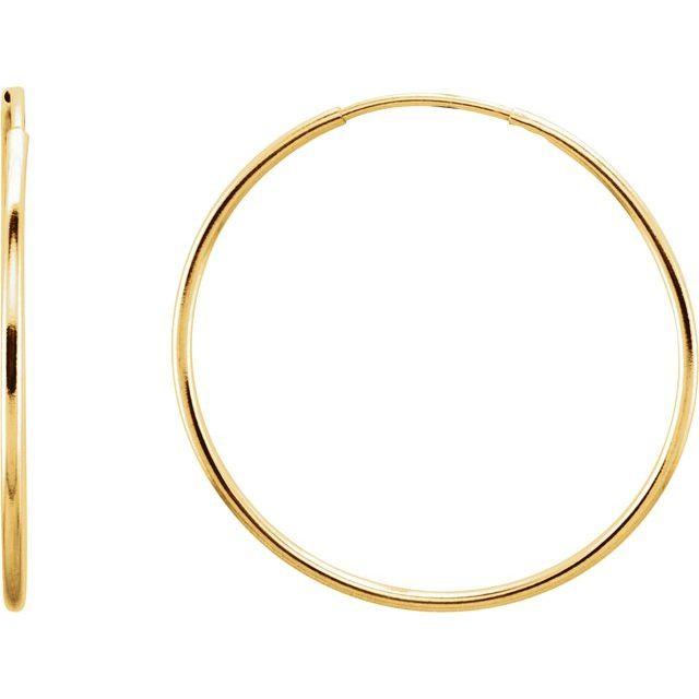 14K Yellow 24 mm Endless Hoop Earrings
