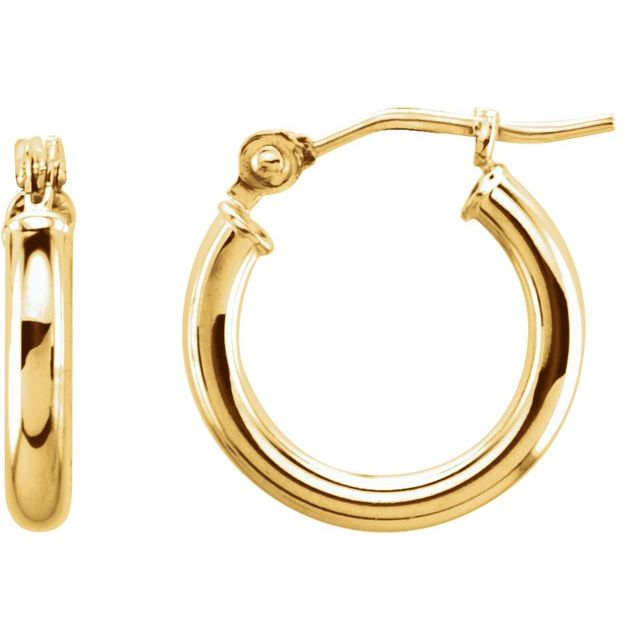 14K Yellow 13 mm Tube Hoop Earrings