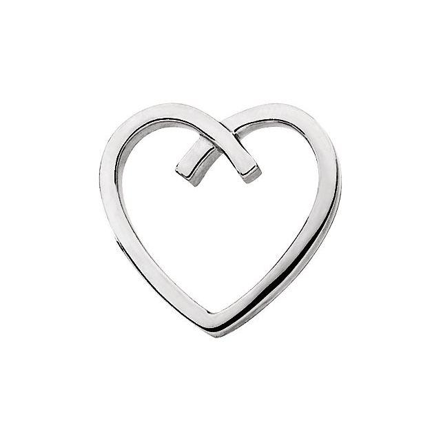 14K White Heart Slide Pendant