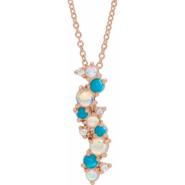 14K Rose Ethiopian Opal Turquoise & .03 CTW Diamond 16-18