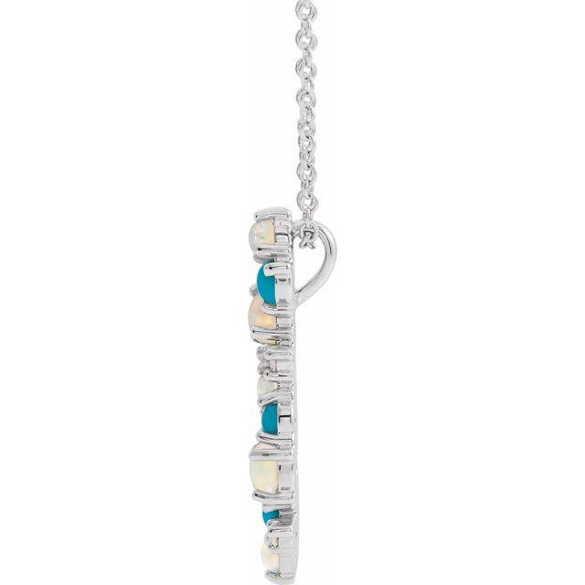 14K White Ethiopian Opal Turquoise & .03 CTW Diamond 16-18