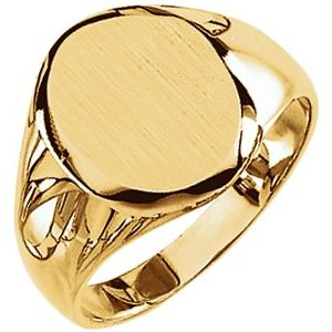 10K Yellow 14.6x12.1 mm Oval Signet Ring