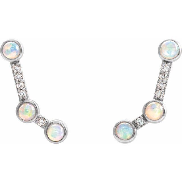 14K White Ethiopian Opal & .08 CTW Diamond Ear Climbers