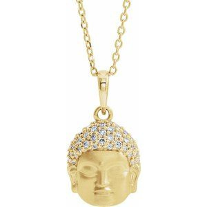 "14K Yellow 1/8 CTW Diamond Buddha 16-18"" Necklace"
