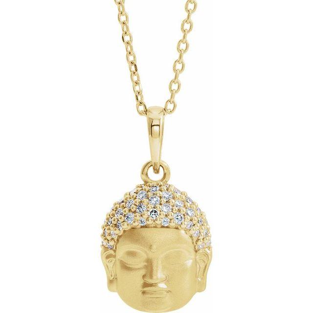 14K Yellow 1/8 CTW Diamond Buddha 16-18