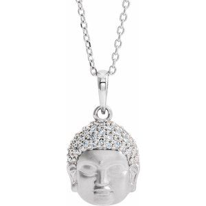 "14K White 1/8 CTW Diamond Buddha 16-18"" Necklace"