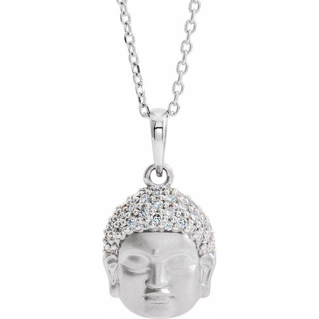 14K White 1/8 CTW Diamond Buddha 16-18