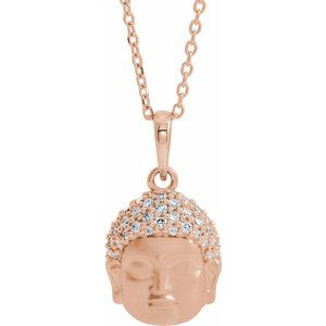 "14K Rose 1/8 CTW Diamond Buddha 16-18"" Necklace"