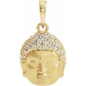 14K Yellow 1/8 CTW Diamond Buddha Pendant