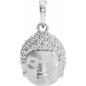 14K White 1/8 CTW Diamond Buddha Pendant