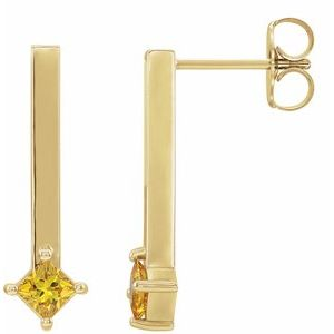 14K Yellow Sapphire Bar Drop Earrings