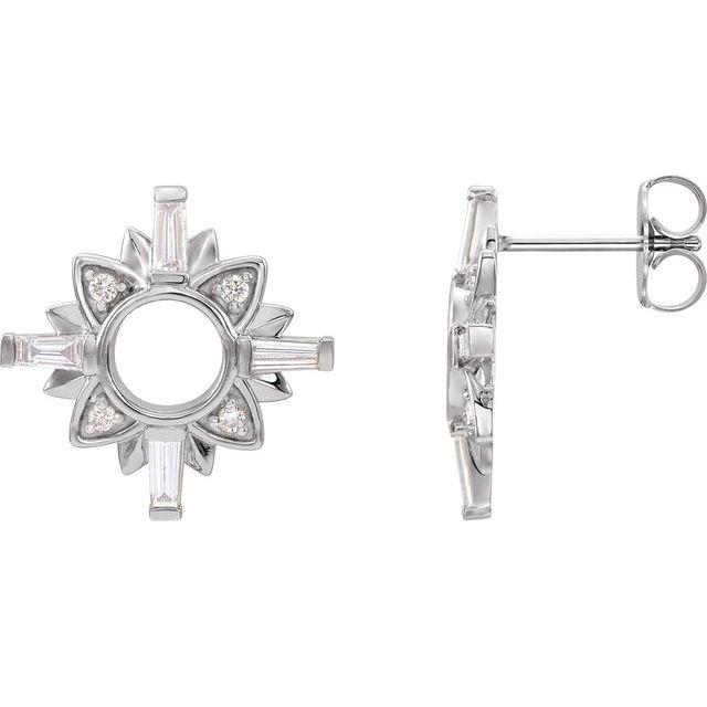 14K White 1/2 CTW Diamond Starburst Earrings