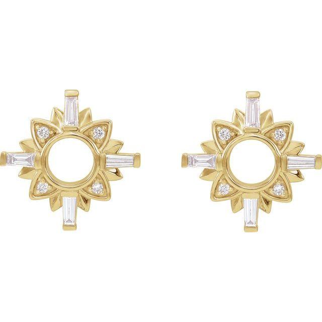 14K Yellow 1/2 CTW Diamond Starburst Earrings