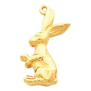 14K Yellow Rabbit Pendant